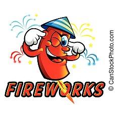 caricatura, rojo, fuegos artificiales