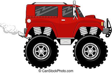 caricatura, rojo, monstertruck