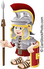 caricatura, romano, soldado