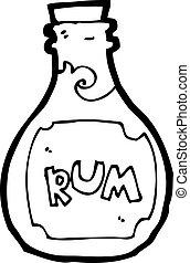 caricatura, ron, botella