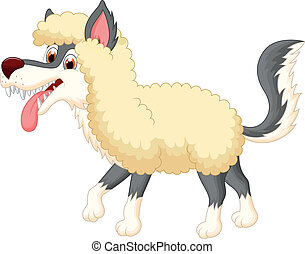 caricatura, ropa de ovejas, lobo