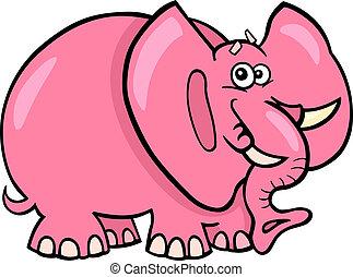 caricatura, rosa, elefante