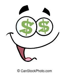 caricatura, rosto engraçado, com, dólar, olhos, e, sorrindo, expressão