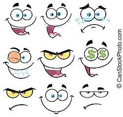 caricatura, rosto engraçado, com, expressão, jogo, 1., cobrança