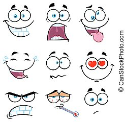 caricatura, rosto engraçado, com, expressão, jogo, 2., cobrança