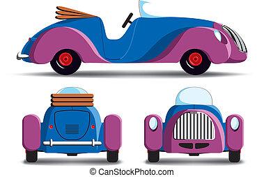 caricatura, roxo, car