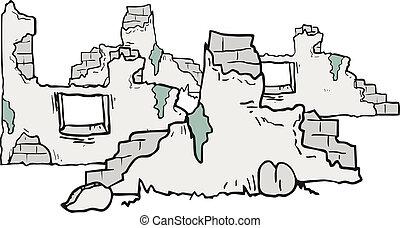 caricatura, ruínas