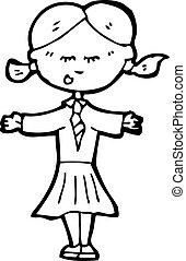 caricatura, rubio, escuela, niño