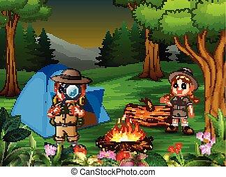 caricatura, saída, crianças, acampamento, floresta