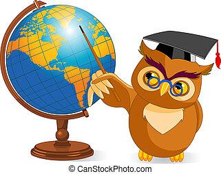 caricatura, sabio, búho, con, globo del mundo