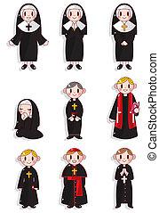 caricatura, sacerdote, y, monja, icono, conjunto