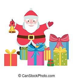 caricatura, santa claus, con, un, regalos