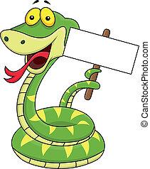 caricatura, señal, serpiente, blanco