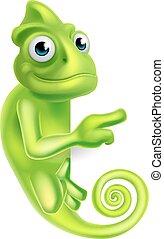 caricatura, señalar, camaleón