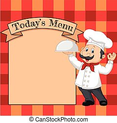 caricatura, segurando, cozinheiro
