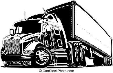 caricatura, semi carro