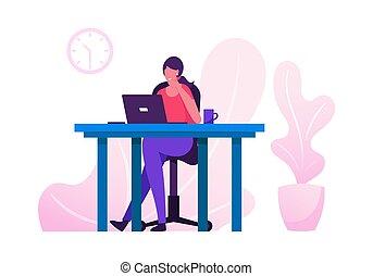 caricatura, sentando, apartamento, ocupado, ou, ocupação, freelancer, trabalhador, local trabalho, ilustração, laptop, empregado, trabalhando, brainstorm., tabela, pensando, task., outsourced, negócio, freelance, escritório, vetorial, mulher