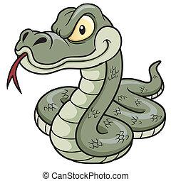 caricatura, serpiente