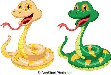 caricatura, serpiente, lindo