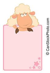 caricatura, sheep, con, marco