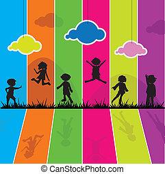caricatura, siluetas, niños