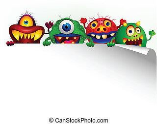 caricatura, sinal, monstro, em branco