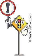 caricatura, sinal tráfego, luz, à frente
