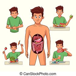 caricatura, sistema digestivo