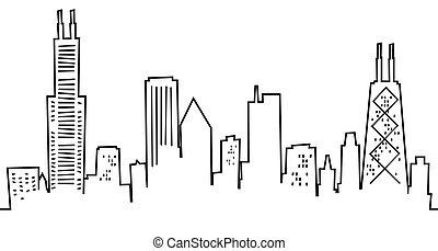 caricatura, skyline, chicago