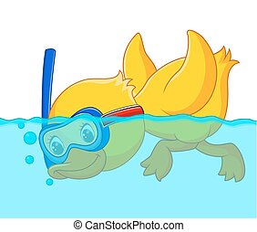 caricatura, snorkeling, pato