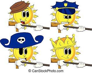 caricatura, sol, con, un, grande, gun.