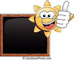 caricatura, sol, polegar cima, em branco, quadro-negro