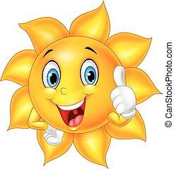 caricatura, sol sorridente, dar, polegar cima