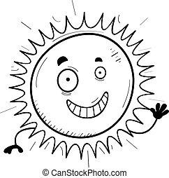 caricatura, sol, waving