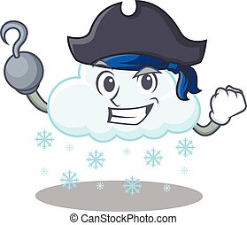 caricatura, sombrero, pirata, gancho, diseño, nevoso, nube, ...