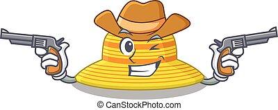 caricatura, sombrero, vaquero, verano, carácter, armas de fuego