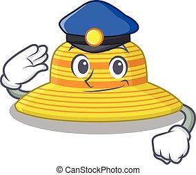 caricatura, sombrero, verano, azul, oficial, llevando, dibujo, policía