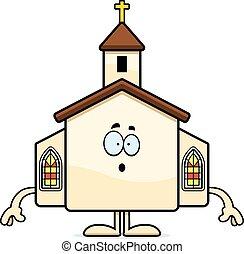 caricatura, sorprendido, iglesia
