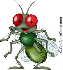 caricatura, sorrindo, mosca