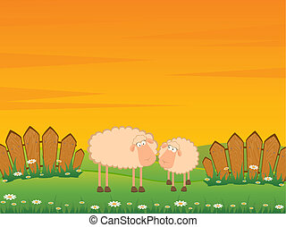 caricatura, sorrindo, sheep
