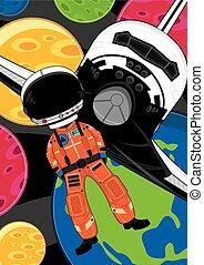 caricatura, spaceman, nave espacial