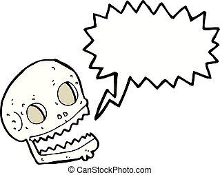 caricatura, spooky, cranio, com, borbulho fala