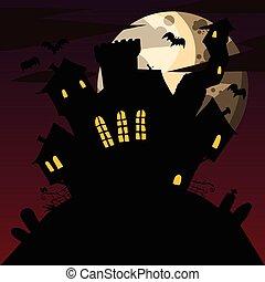 caricatura, spooky, mansão
