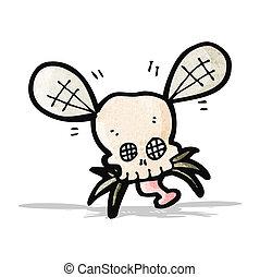 caricatura, spooky, mosca