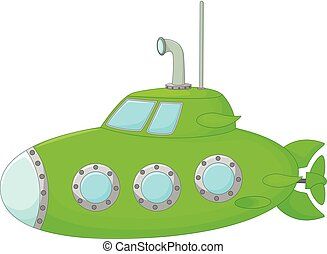 caricatura, submarino, verde, original