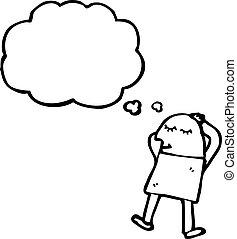 caricatura, sueño, hombre