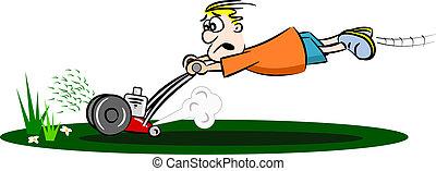 caricatura, sujeito, mowing gramado
