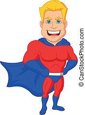 caricatura, superhero, posar