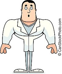 caricatura, surpreendido, doutor