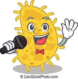 caricatura, talentoso, bactérias, microfone, personagem, spirilla, segurando, cantor